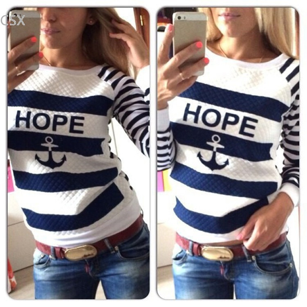 MwOiiOwM Hot Sale Anchor Women Print Hoodies Striped Causal Sweatshirts Tracksuits Multi Size Free Shipping 41