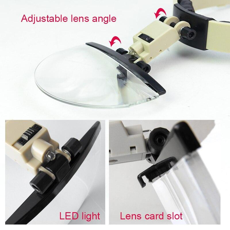 2X 3.8X 4.5X 5.5X Casco Lupa LED Iluminado Reloj Reparación de joyas - Instrumentos de medición - foto 5