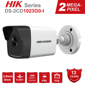 Hikvision 1080P Waterproof Bullet IP Camera DS-2CD1023G0-I Camera 2 Megapixel CMOS CCTV IP Security Camera PoE Outdoor new english version free shipping ds 2cd2055fwd i replace ds 2cd2055 i 5mp network bullet camera support on board storage