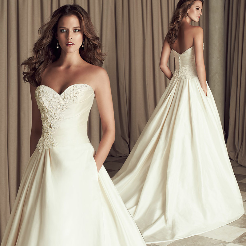 Wedding Dress 2016 Autumn Winter Dresses For Brides Elegant Classical A-line Sweetheart With High Quality Satin Chapel Train