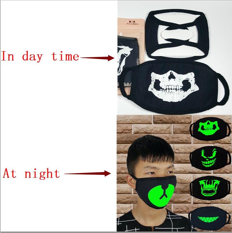 2019 Newly Unisex Fashion Women Men Masks Fluorecent Mask14 Style Mask Cartoon Pattern Print Cotton Black Night Glowing Mask