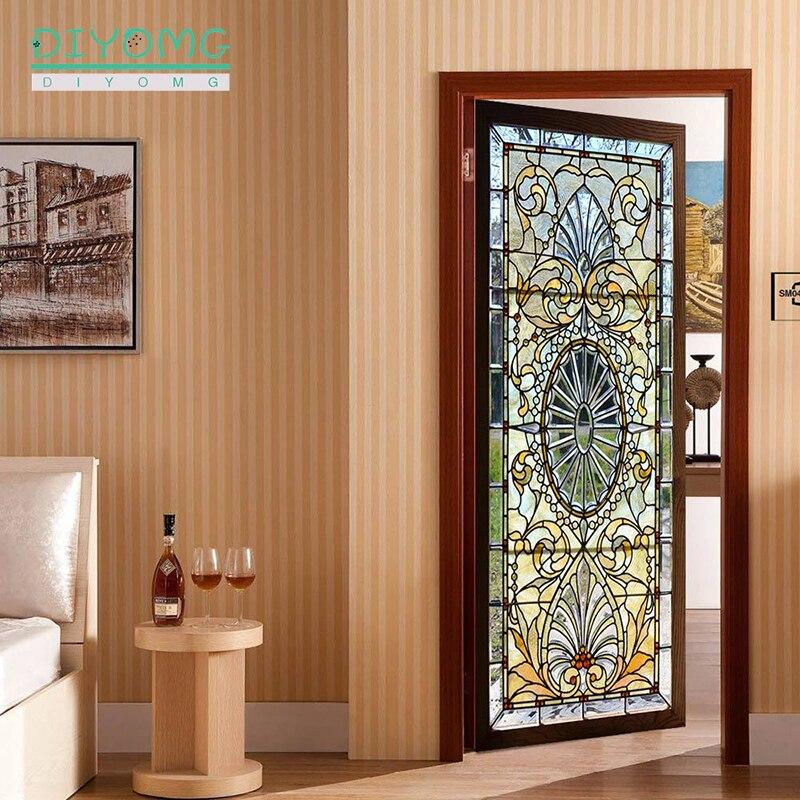 77x200cm Door Stickers Art DIY For Door self-Adhesive Wall Murals Vinyl Removable Retro Art Door Decals Home Decoration Stickers