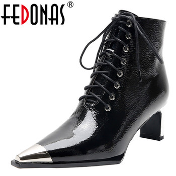 FEDONAS Brand Women Patent Leather Ankle Boots Sexy Pointed Toe Chelsea Short Boots Party Night Club Shoes Woman High Heels