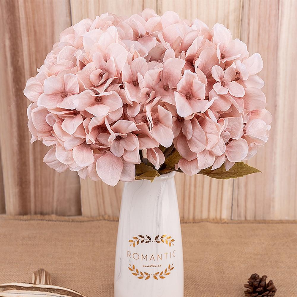 artificial flowers hydrangea branch home wedding decor autum silk plastic flower high quality fake flower party room decoration(China)