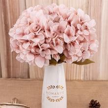Flores artificiales de hortensia rama hogar boda decoración otoño seda plástico Flor Alta Calidad falsa flor Decoración habitación fiesta