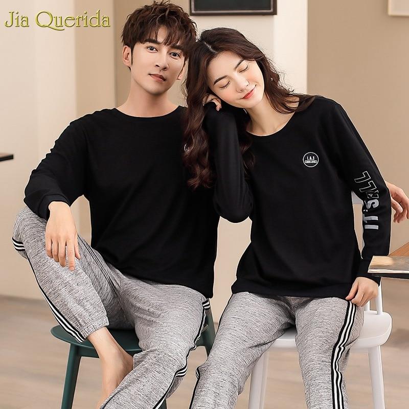 New Women 2 Piece Set Nightwear 100% Cotton Couple Matching Pajamas Long Sleeve Sport Style Leisure Home Suits Couple Loungewear