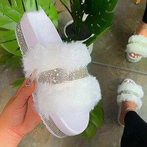 INS Bling Women's Plush Slippers Fur Slides Rhinestones Flat Women Platform Sandals Fashion Casual Shoes Comfortable Plus Size