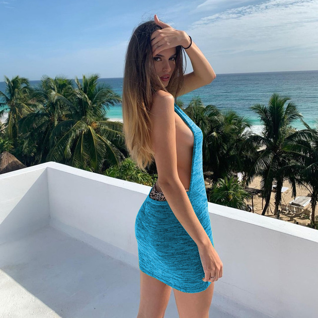 Women Halter Backless Dress 2021 Summer Hollow Out Sleeveless Knitted Dress Sexy Club Bodycon Mini Party Dresses Beach Wear Hot 3