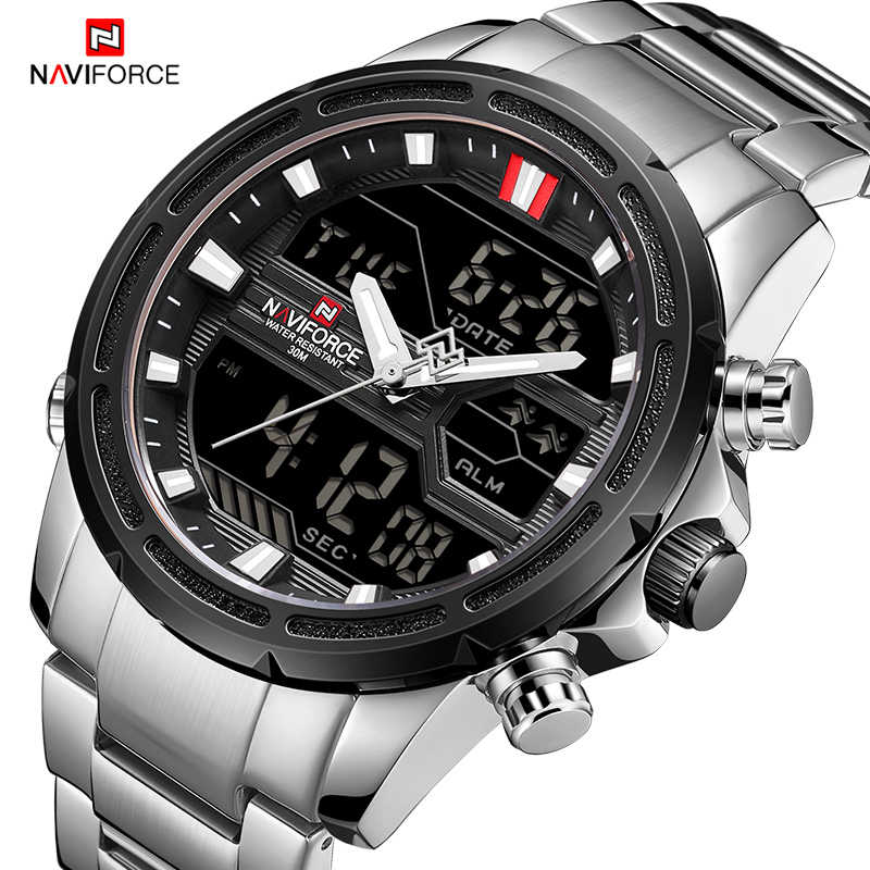 NAVIFORCE luxe hommes montre plein acier militaire montre-bracelet numérique sport montres hommes étanche Quartz horloge relogio masculino
