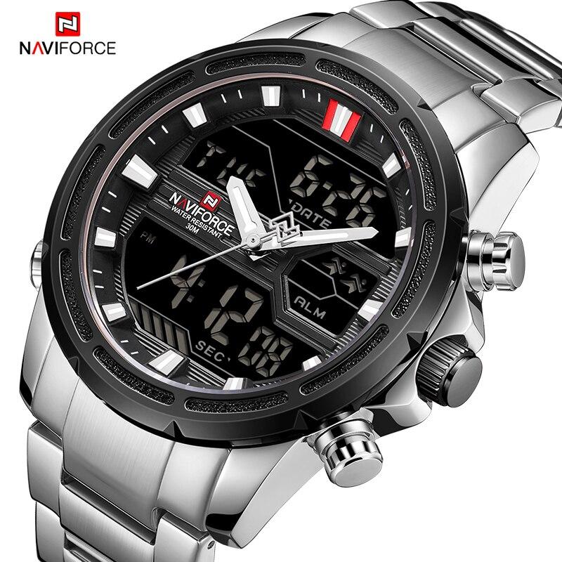 Naviforce luxo relógio masculino completo aço militar relógio de pulso relógios de esportes digitais à prova dwaterproof água relógio de quartzo relogio masculino