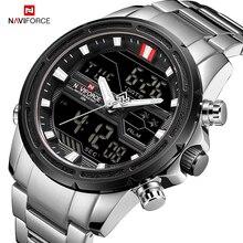 Naviforce 高級メンズ腕時計フルスチール軍用腕時計デジタルスポーツ男性防水クォーツ時計レロジオ masculino