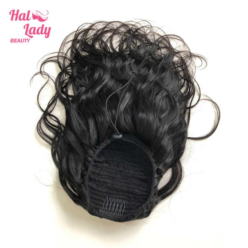 Halo Kecantikan Tubuh Gelombang Serut Ekor Kuda Rambut Manusia Brasil Klip Di Rambut Ekstensi Rambut Ekor Kuda untuk Wanita