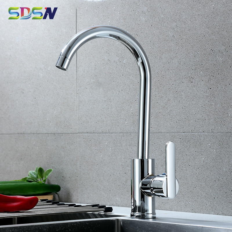 Kitchen Mixer Faucet SDSN Quality Zinc Alloy Kitchen Sink Faucet Single Handle Hot Cold Kitchen Mixer Tap Chrome Kitchen Faucet