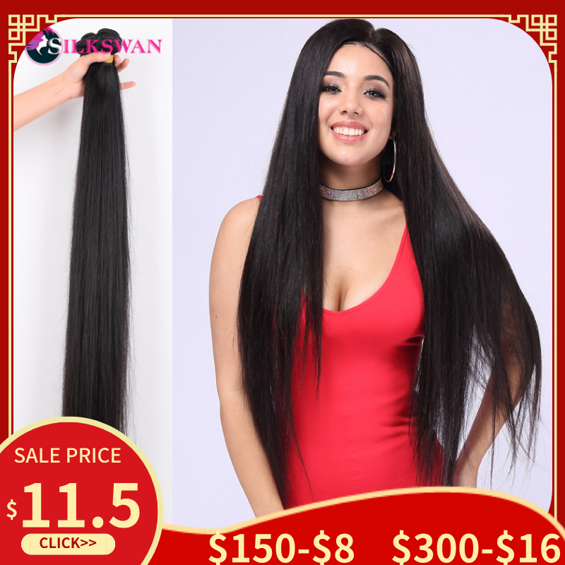 Silkswan Straight Hair 10-30 Inch Bundles Human Hair Extensions Remy Hair 34 36 40 Inch Brazilian Hair Bundles For Women Weaves