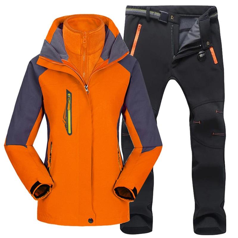 New Women Hiking Clothing Outdoor Suit Jackets&Pants Fleece Warm Hiking Jacket Waterproof Hunting Jacket Softshell Pants Female