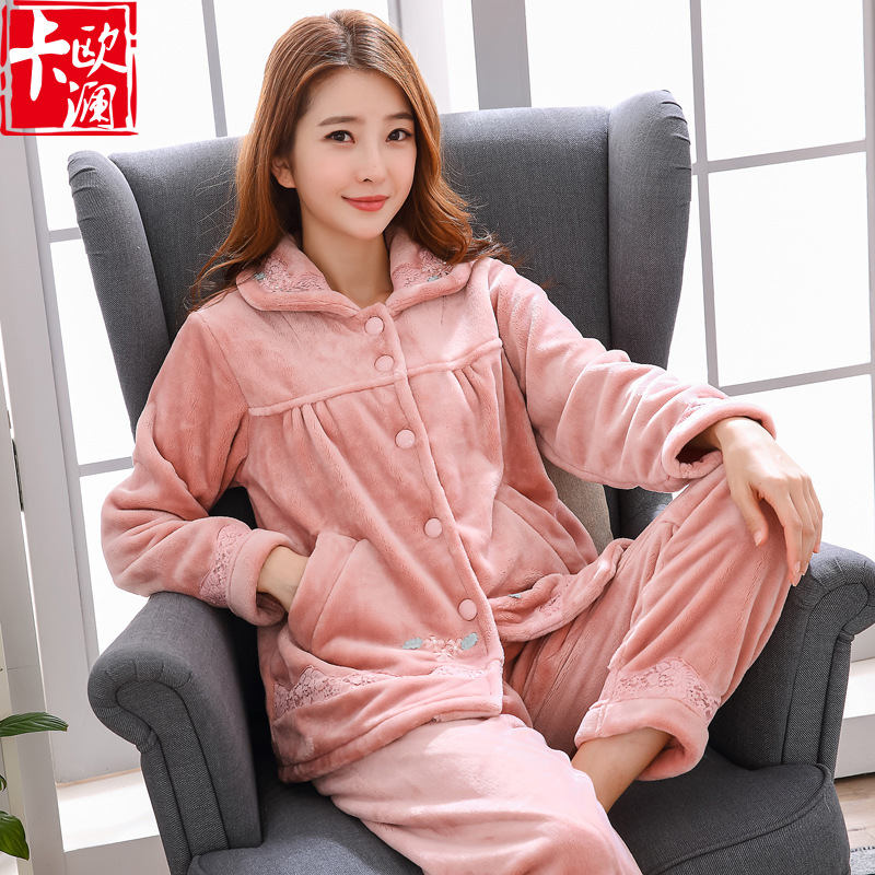 Middle-aged Women's Coral Velvet Pajamas Middle-aged Women Dress Flannel Thick Nobility Elegant Women's Home Wear