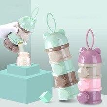 3/4 camada de armazenamento de alimentos para bebê caixa urso bonito estilo portátil essencial cereais dos desenhos animados leite infantil em pó caixa toddle lanches recipiente