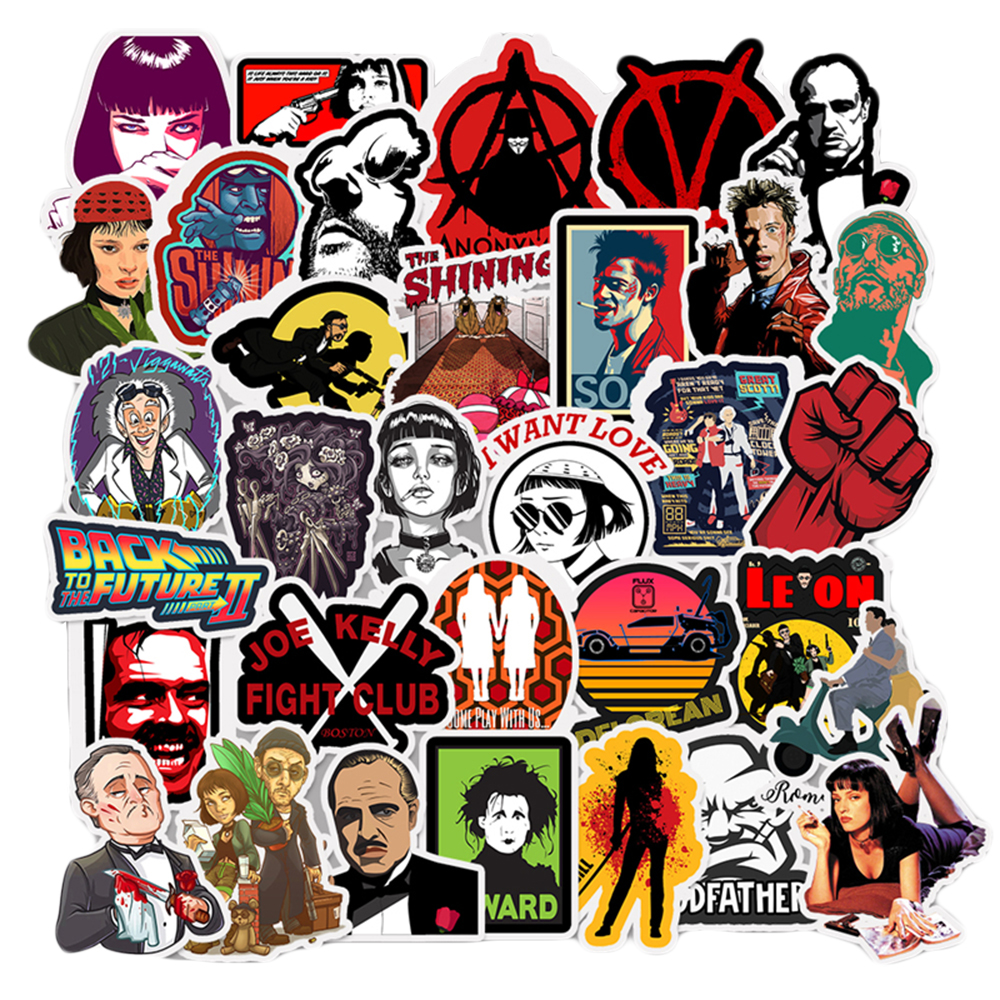 50PCS Pulp Fiction Movie Cartoon Stickers DIY Bike Travel Luggage Car Phone Guitar Laptop Waterproof Joke Stickers Classic Toy