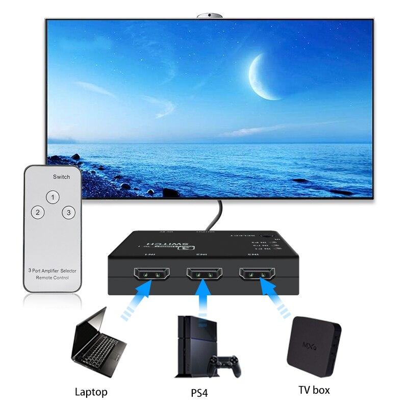 Switcher splitter 1080p 4k * 2k hdmi-caixa de interruptor compatível 3 em 1 para fora adaptador ultra hd para dvd hdtv xiaomi mi para xbox ps3 ps4
