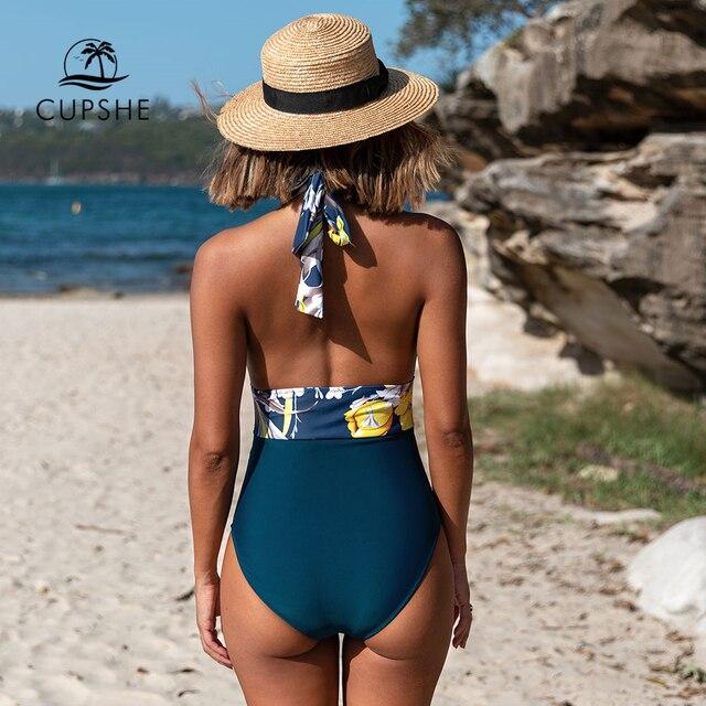 CUPSHE marine florale profonde col en v licou une pièce maillot de bain Sexy dos nu à lacets femmes Monokini 2020 plage maillots de bain maillots de bain