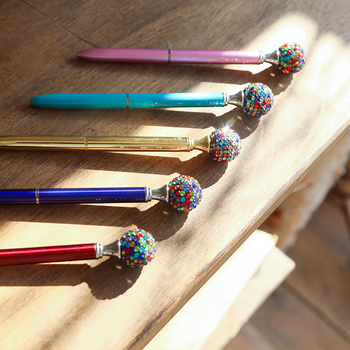 Big Diamond Crystal Pen Novelty Color Rhinestone Ballpoint Pen For School Office Stationery Supplies Black ink Factory Wholesale 15 25pcs metal ballpoint pen black ink diamond shaped artificial crystal pen with plastic box
