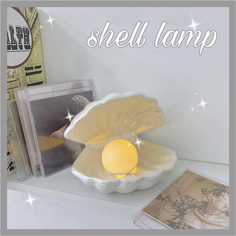 Romantic Shell Lamp Ceramics Korean Style Dreamlike White Pink Birthday Gifts Bedroom Desk Decoration Shell Pearls Night Light