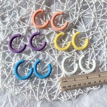 UJBOX japonés coreano Multicolor pendientes de círculo geométrico diosa de moda exquisita resina pintura en aerosol pendientes de aro
