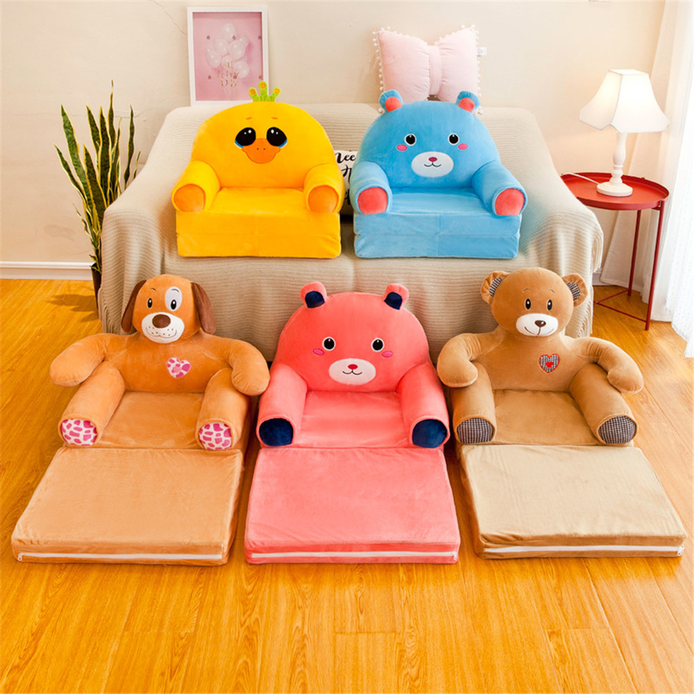 No Filler Multi-layer Children's Small Sofa Cartoon Princess Girl Baby Cartoon Folding Seat Recliner Boy Single Lazy Sofa Bed