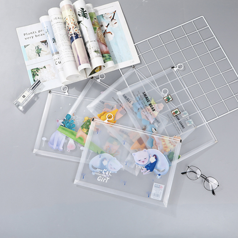 4pc/sets Student Stationery Transparent Envelope A4 Folder Information Kit Cute Cartoon Animal Ring Plastic School Prizes File