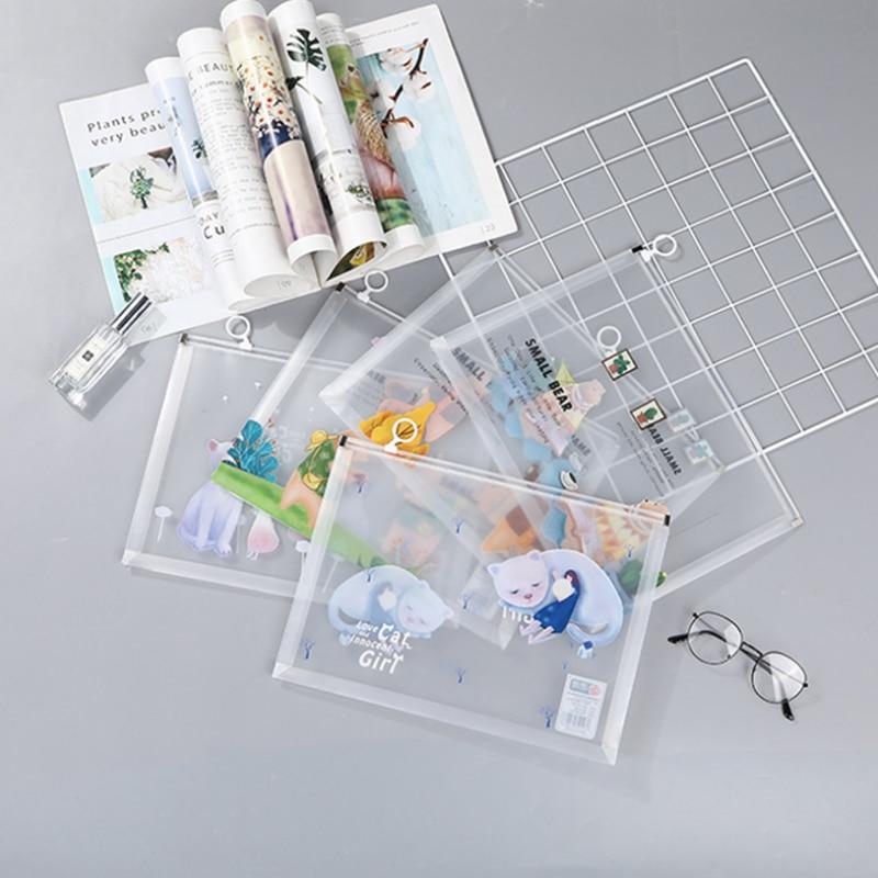 4pc/sets Student Stationery Transparent Envelope A4 Folder Information Kit Cute Cartoon Animal Ring Plastic School Prizes File