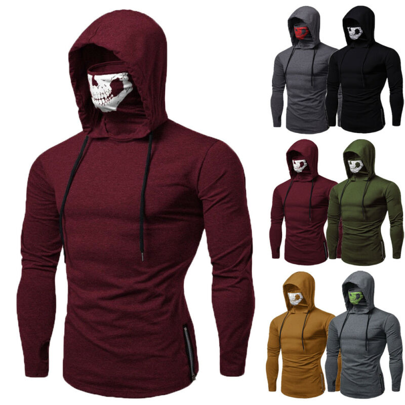 2019 Fashion Brand New Mens Casual Solid Color Gym Thin Hoodie Long Sleeve Hoodies With Mask Sweatshirt Casual Sweatshirt