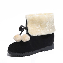 YeddaMavis Fur Ball Bow Boots Black Thickened Warm Snow Winter Womens Shoes New Women Woman