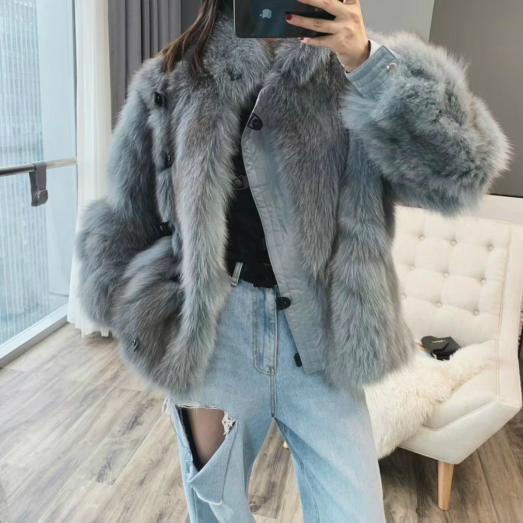 OFTBUY 2019 New Fashion Real Fur Coat Winter Jacket Women Natural Fox Fur Real Leather Thick Warm Outerwear Streetwear Luxury
