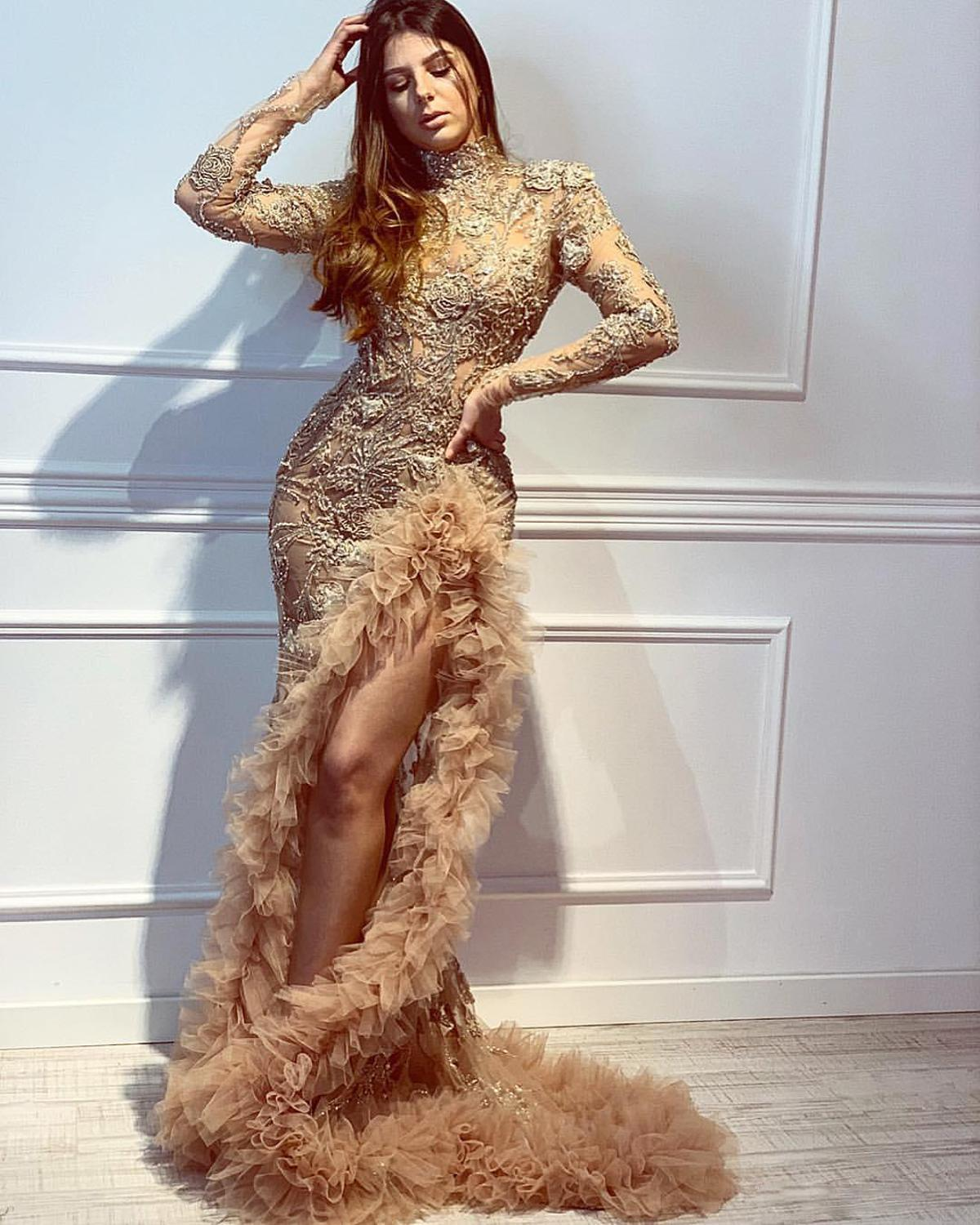 Gold Mermaid 2019 African Evening Dress Long Sleeve High Neck Lace Beaded Chic Prom Dresses High Split Formal Party Pageant Gown