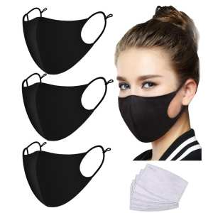 Mouth-Mask Cotton Black/pm2.5 ACTIVATED-CARBON-FILTER Quality for 5-LAYER-FILTERS-REPLACEMENT
