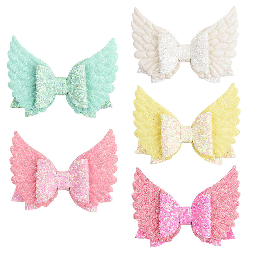 "3.34"" Angel Wing Glitter Hair Bows Clips Princess Kids Hairgrips Hair Clip for Children Girls Hair Accessories Toddler Headwear"