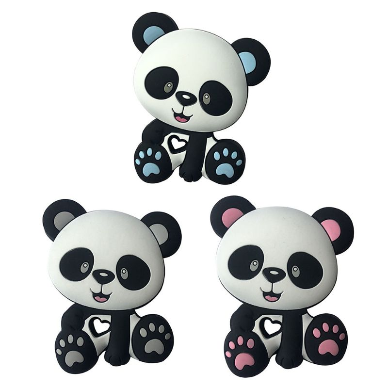 Panda Beads Baby Toys Silicone Teether Pacifier Teething DIY Chain Biting Chew Pendant For Children Infants DXAD