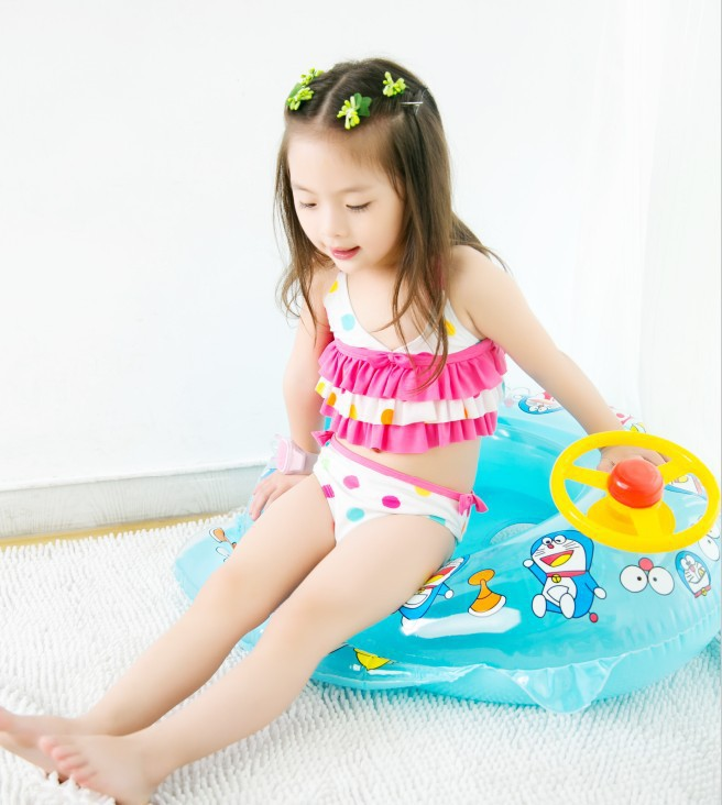 Special Offer KID'S Swimwear Infants Small Children White Background Pink Dots Cake Dress Split Type Cute Holiday Swimwear