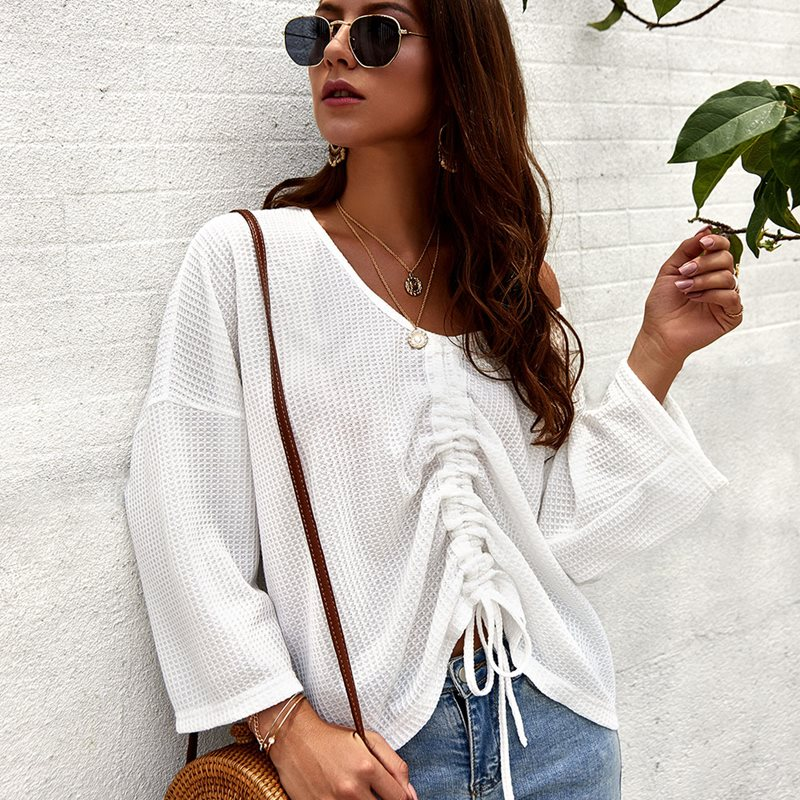 Women Drawstring Knit Sweater White V neck Lace Top Boho Vacation Casual Normcore Clothes Warm Simple Sweater in Pullovers from Women 39 s Clothing
