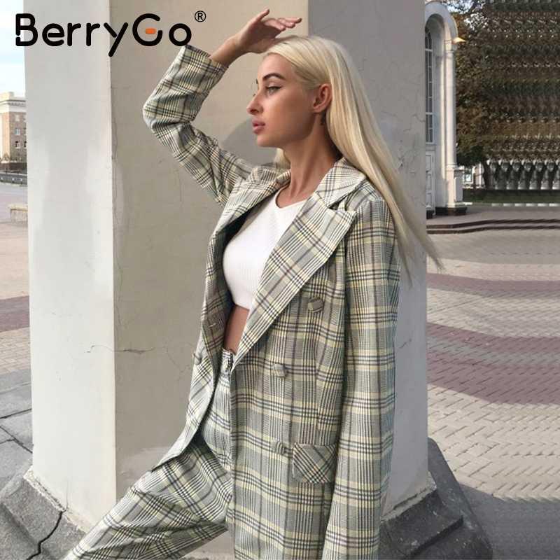 BerryGo elegancki biuro panie plaid blazer zestawy dwuczęściowy podwójne piersi kobiet marynarka spodnie garnitury Casual streetwear damskie zestawy
