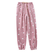 Pajama-Pants Trousers Lazy-Bottoms Flannel Womens Winter with Waist-Rope Closed Thick