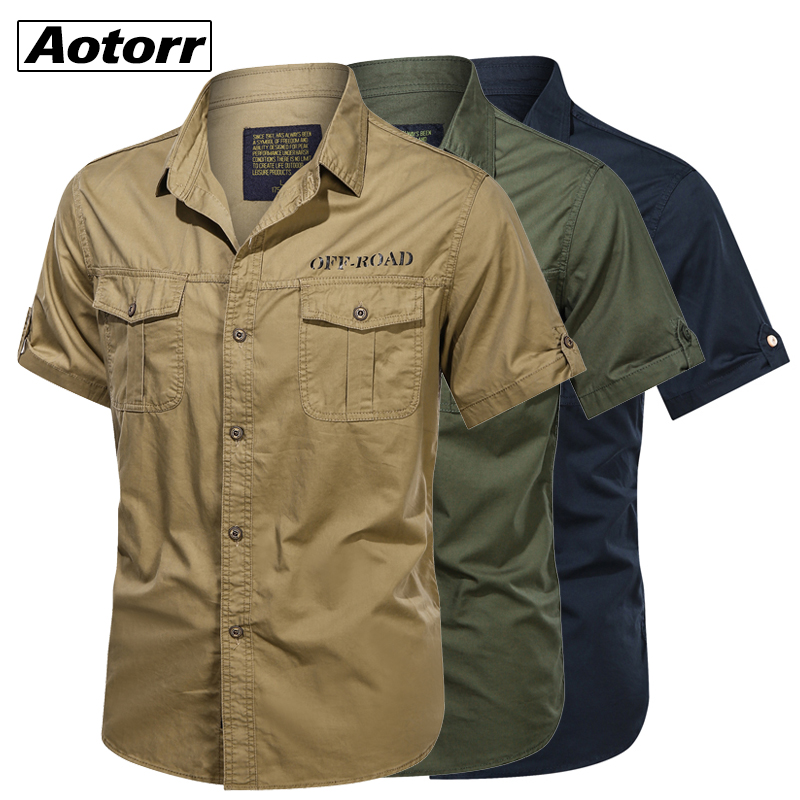 2021 Mens 100% Cotton Military Shirts Casual Dress Short Sleeve Slim Tops Work Shirt Male Solid Summer Trendy Chest Pocket 4XL