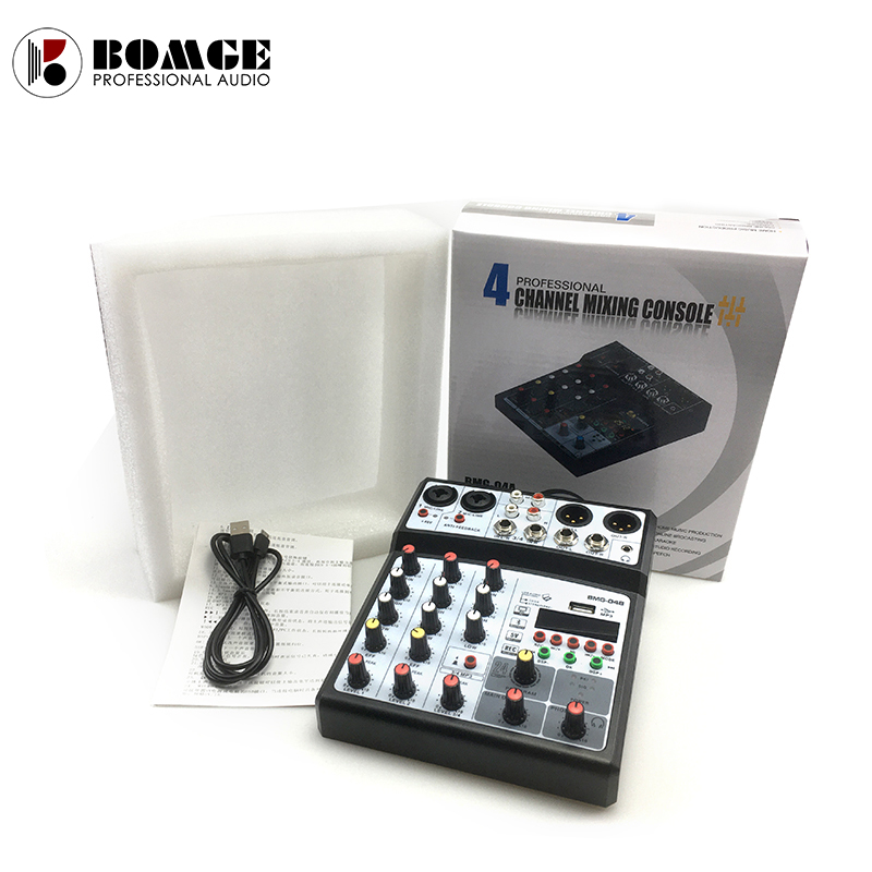 4 channel mixer audio interface dj mixing console karaoke with usb bluetooth powered by usb buses and mobile charger