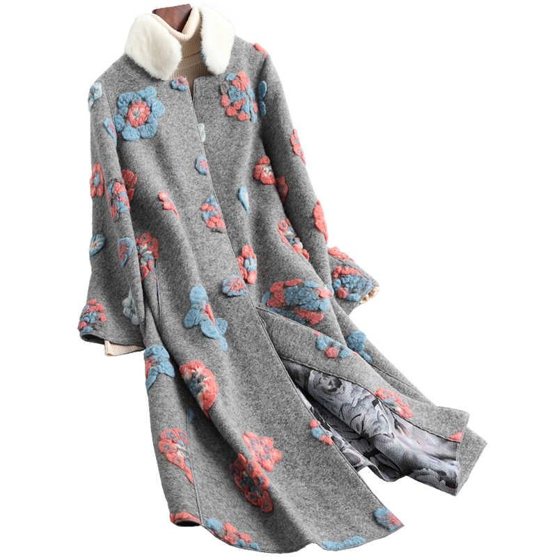 Vizon kürk yaka gerçek kürk ceket kadın yün ceket sonbahar kış ceket kadın kıyafetleri 2020 kore Vintage koyun Shealring üstleri T4691