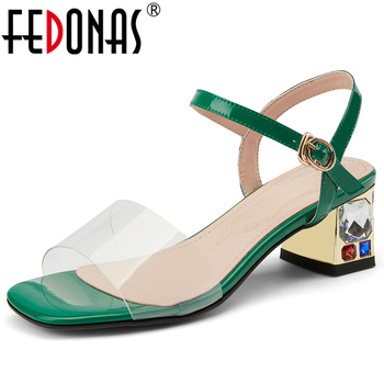 FEDONAS 2020 Summer Fashion Concise Casual Women Cow Patent Leather Sandals Crystal Thick Heel Front & Rear Strap Shoes Woman