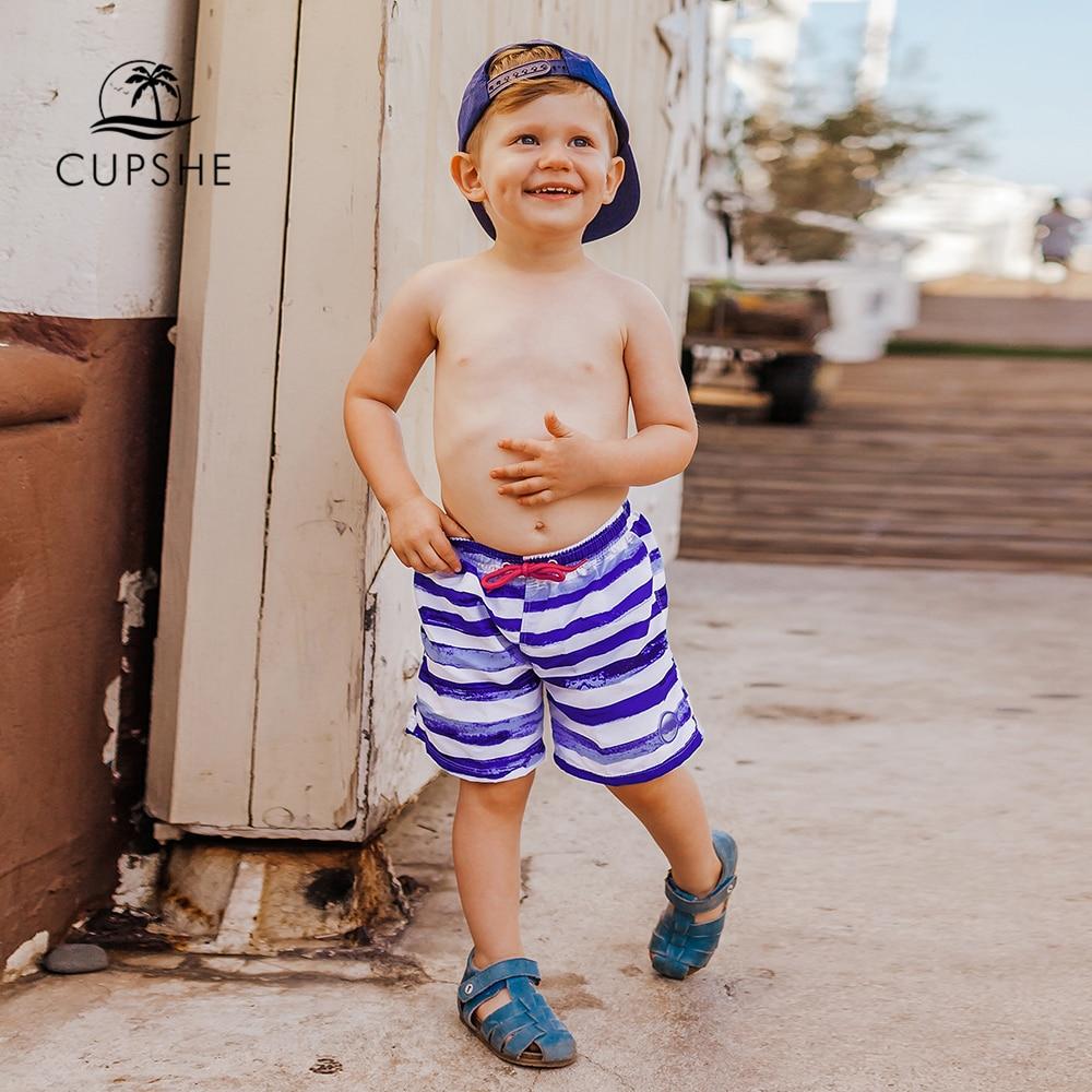 CUPSHE Purple and White Striped Boys Swim Trunks Swimsuit For Toddler Boys 2020 Summer Children Kids   Board     Shorts   2-13 Years