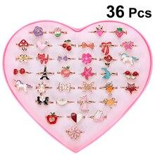 36 шт. Мультяшные кольца из сплава красочные милые регулируемые ювелирные изделия подарки вечерние забавные игрушки для детей девочек