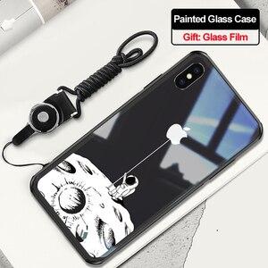 Image 3 - Чехол из закаленного стекла для iPhone X XR xs max, 6d взрывозащищенный прозрачный стеклянный чехол с рисунком для девушек, стеклянный чехол для iphone xr xs max