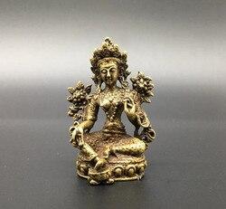 Chinês pure bronze estátua de tara Verde buddha pequeno