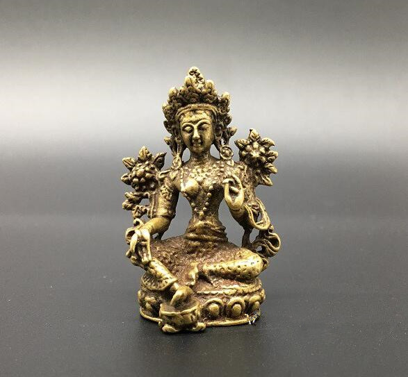 Chinese Pure Brass Green Tara Buddha Small Statue